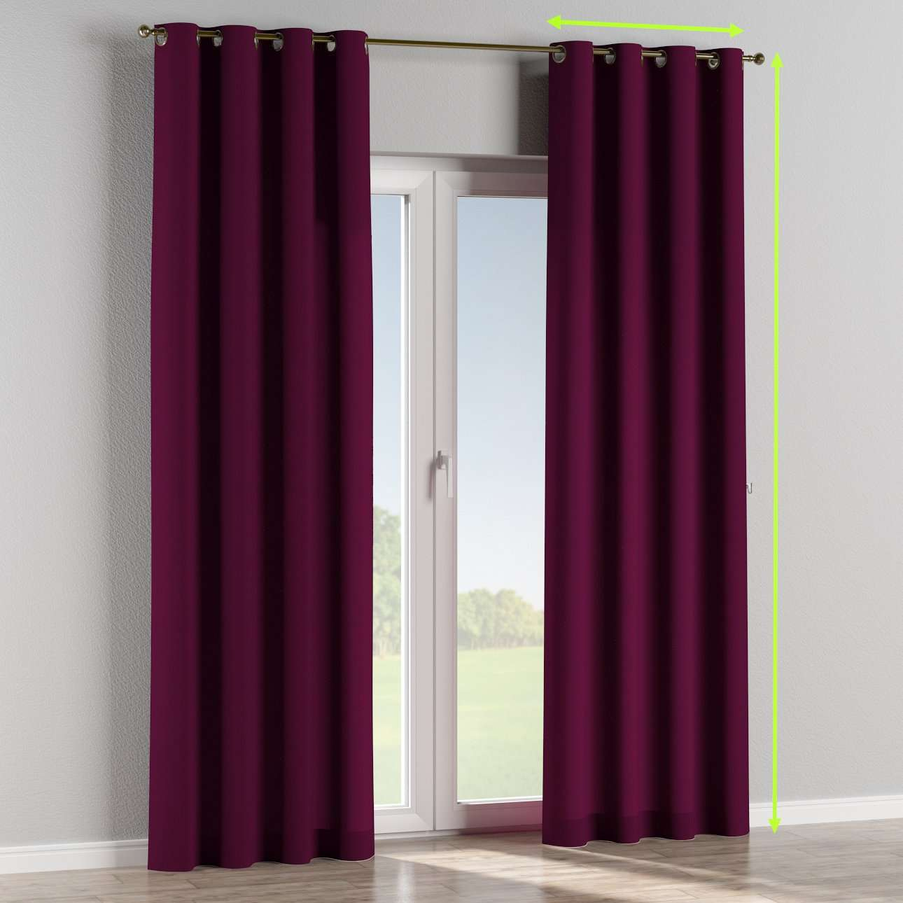 Eyelet lined curtains in collection Chenille, fabric: 702-12