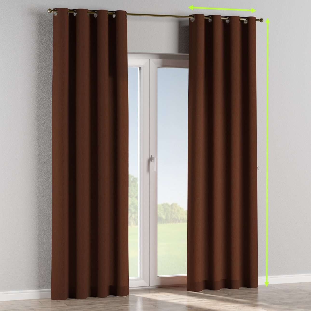 Eyelet lined curtains in collection Chenille, fabric: 702-18