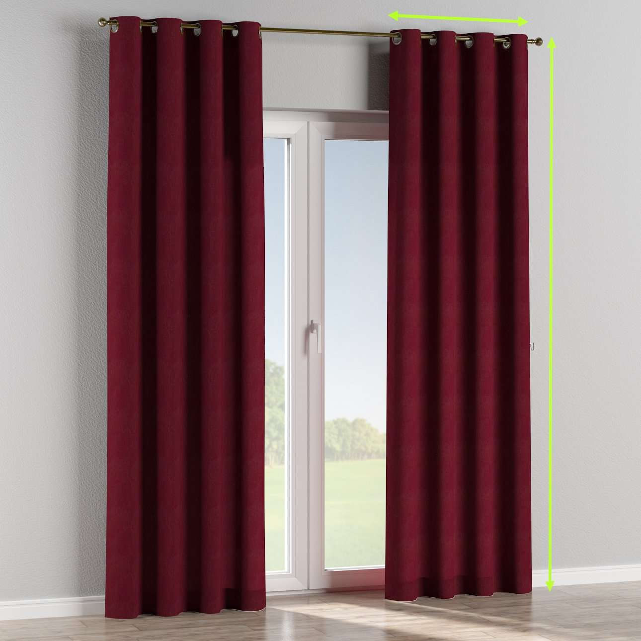 Eyelet lined curtains in collection Chenille, fabric: 702-19