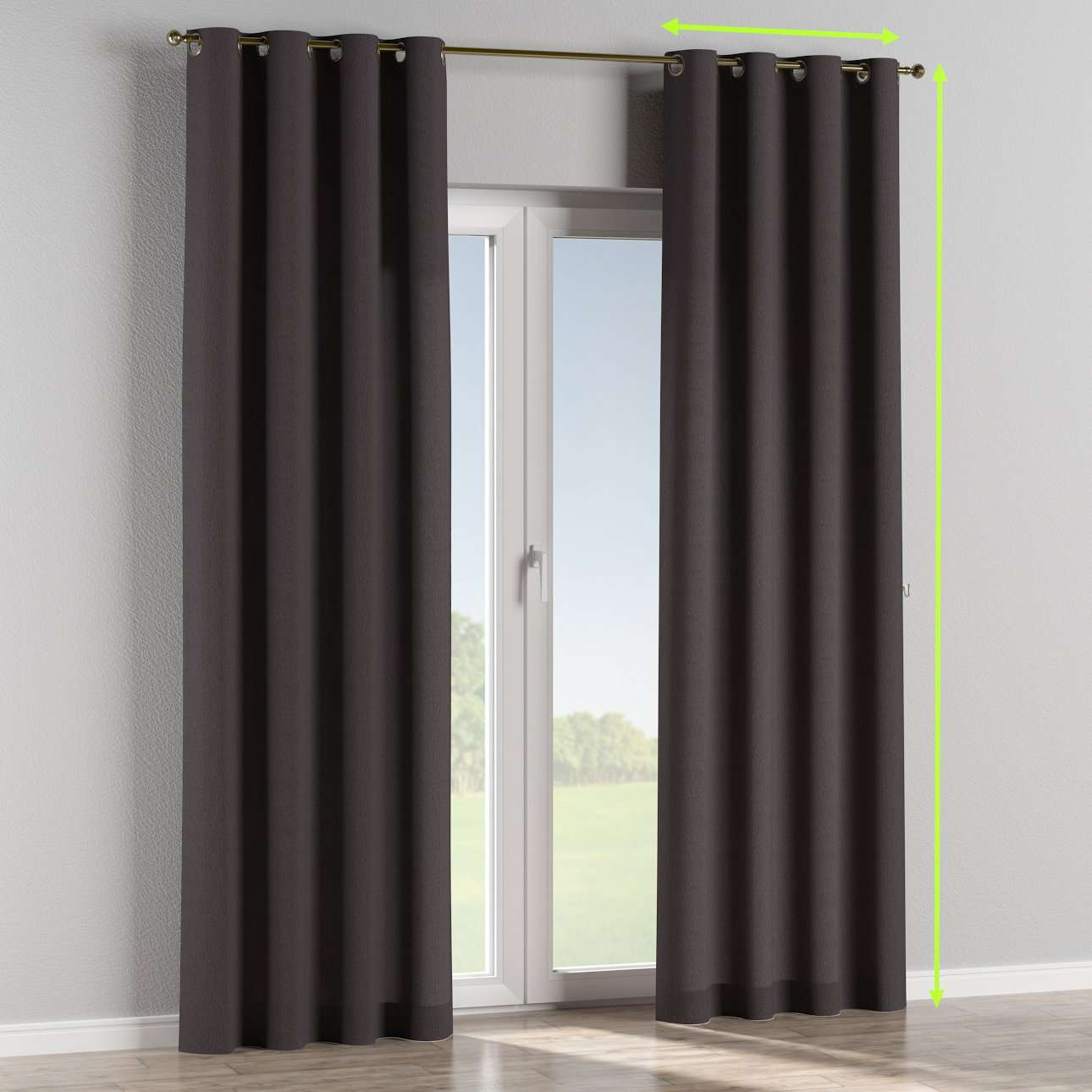 Eyelet lined curtains in collection Chenille, fabric: 702-20