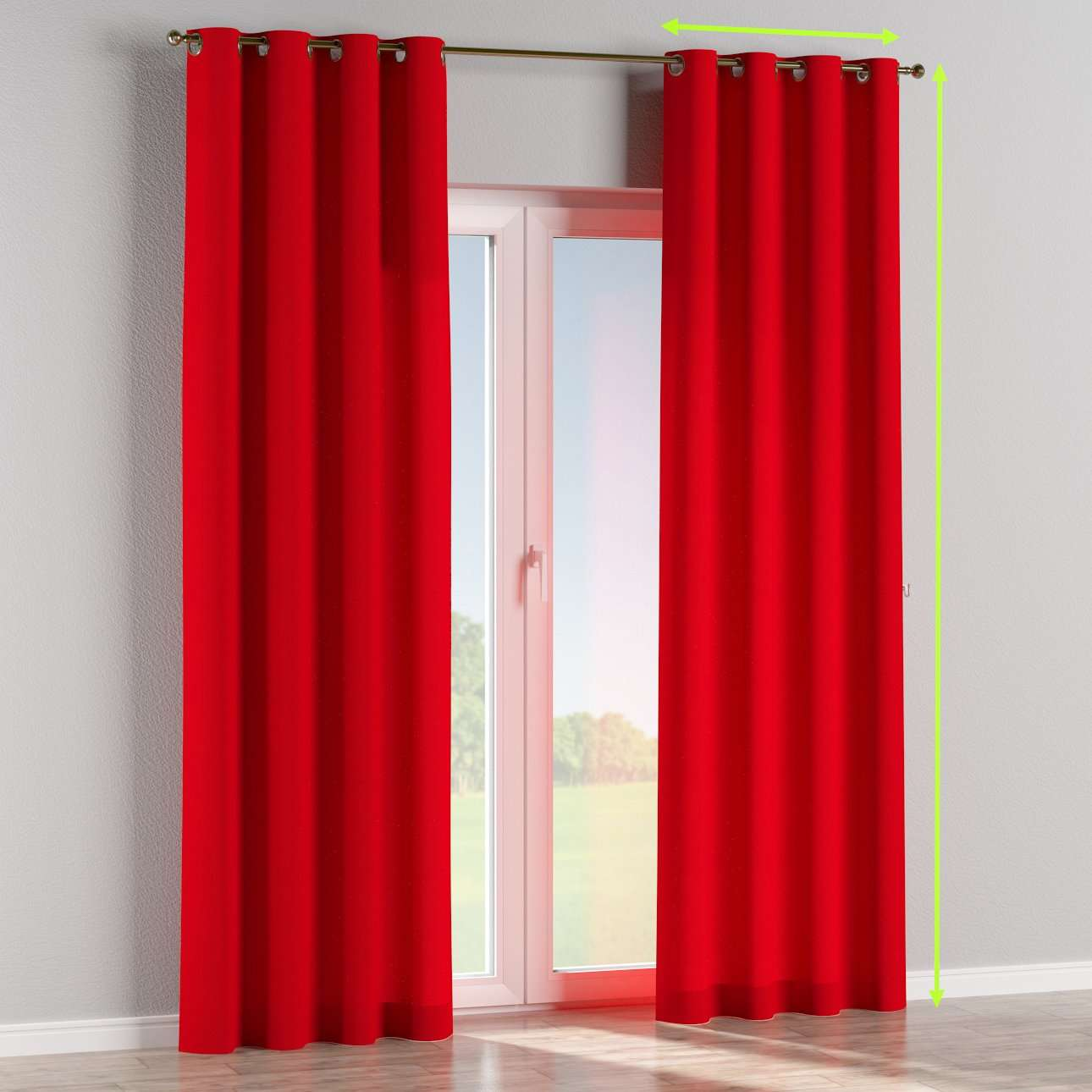Eyelet lined curtains in collection Chenille, fabric: 702-24