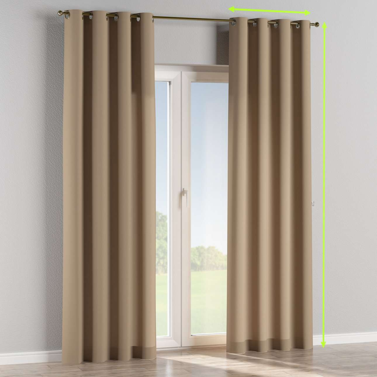 Eyelet lined curtains in collection Cotton Panama, fabric: 702-28