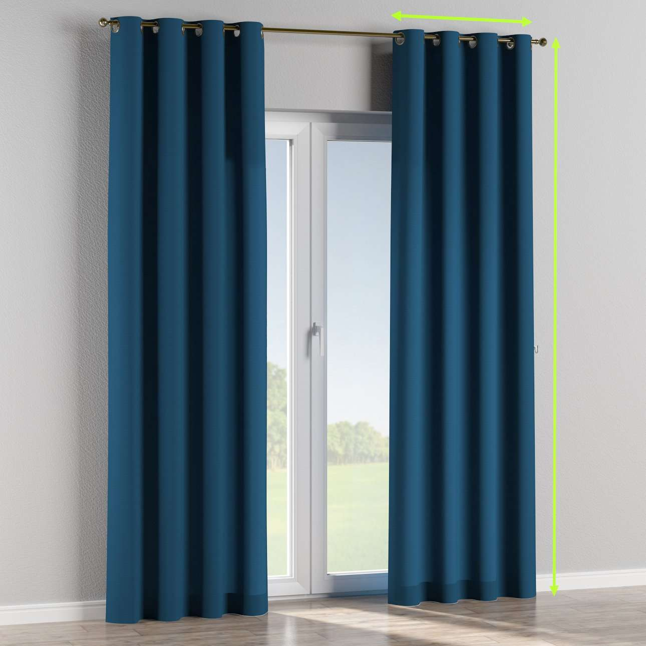 Eyelet lined curtains in collection Cotton Panama, fabric: 702-30