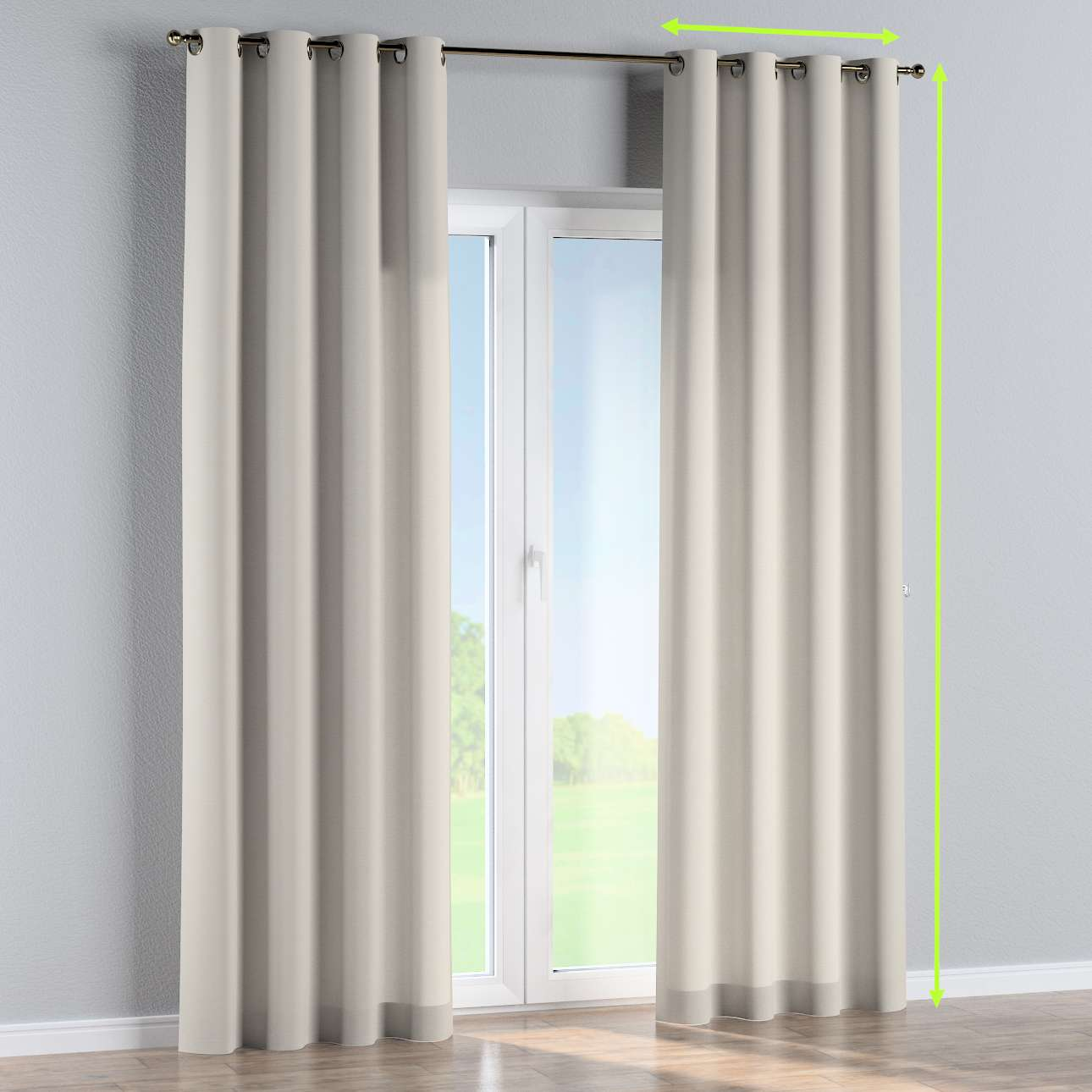 Eyelet lined curtains in collection Cotton Panama, fabric: 702-31