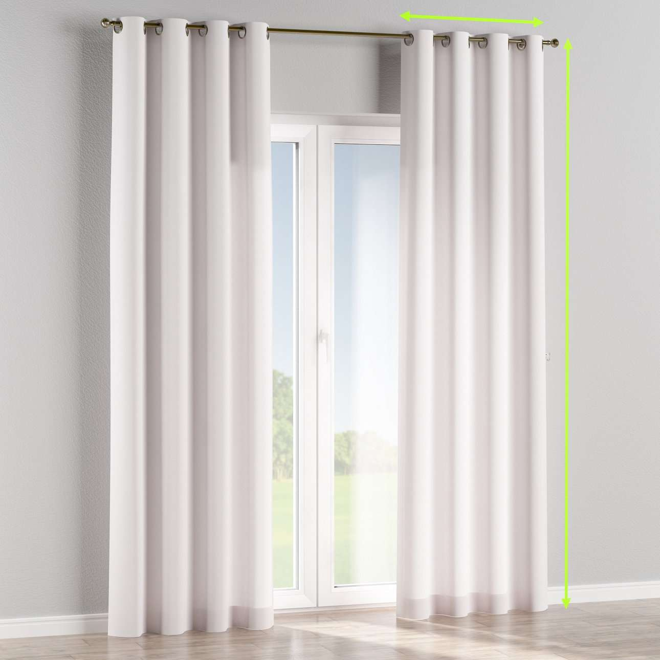 Eyelet lined curtains in collection Cotton Panama, fabric: 702-34