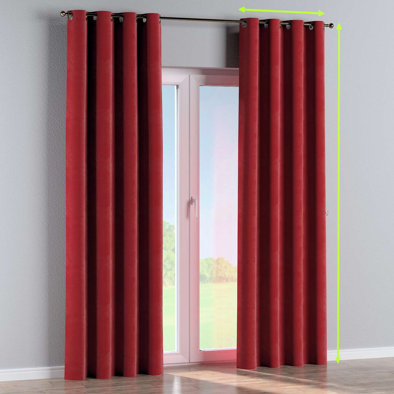 Eyelet lined curtains in collection Velvet, fabric: 704-15