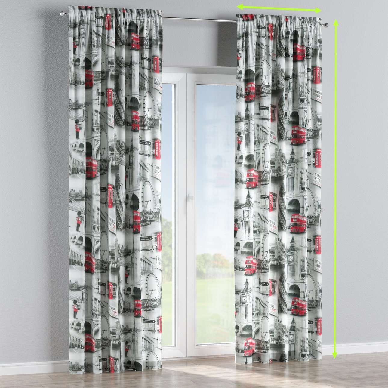 Slot and frill lined curtains in collection Comic Book & Geo Prints, fabric: 111-04