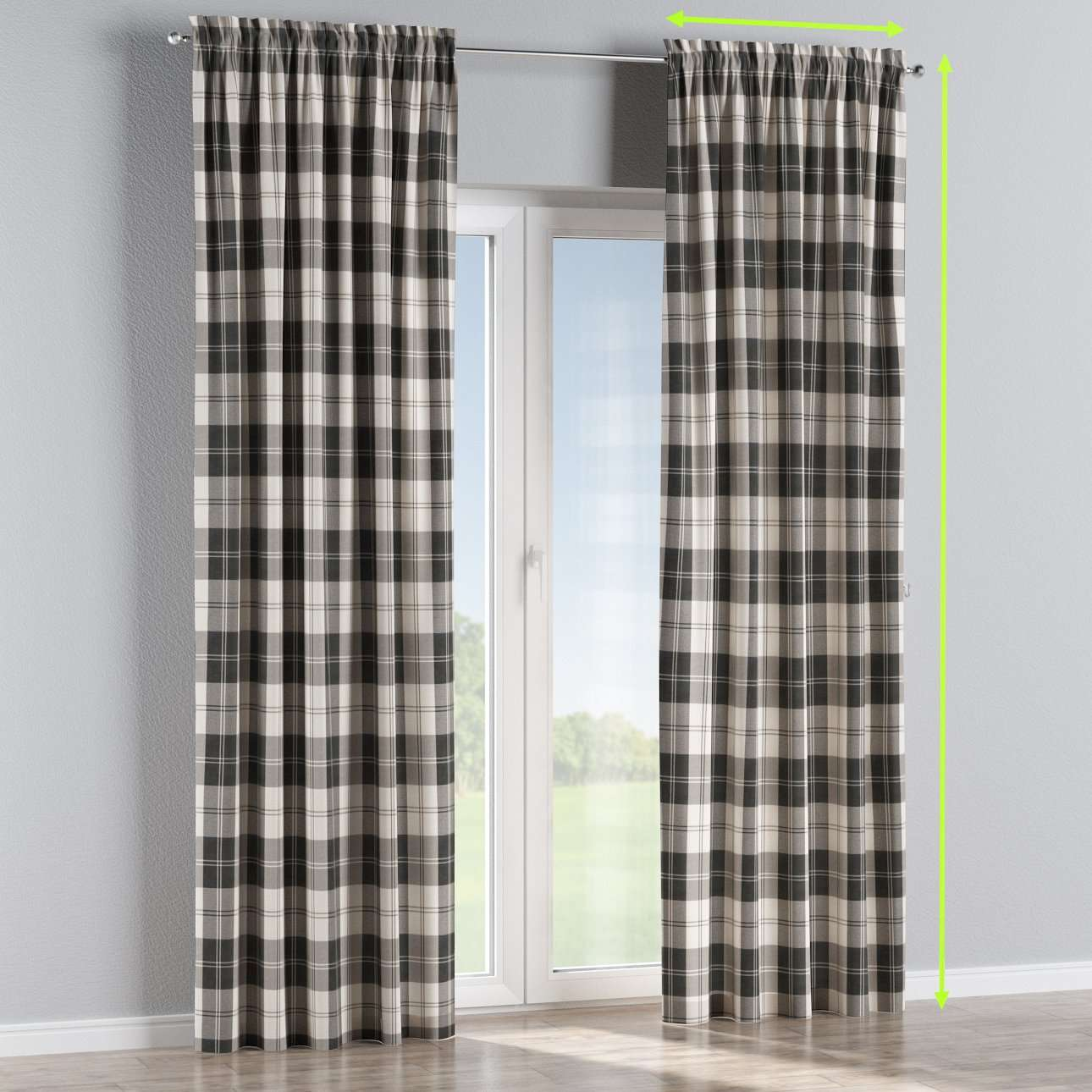 Slot and frill lined curtains in collection Edinburgh, fabric: 115-74
