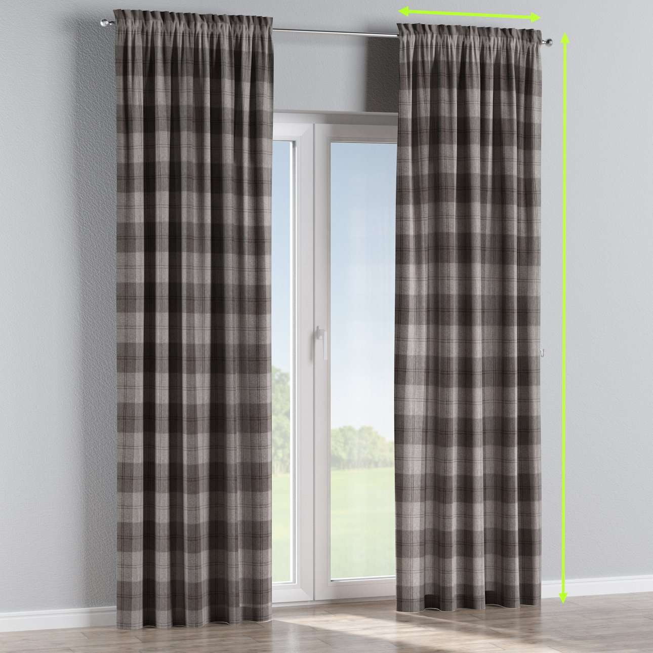 Slot and frill lined curtains in collection Edinburgh, fabric: 115-75