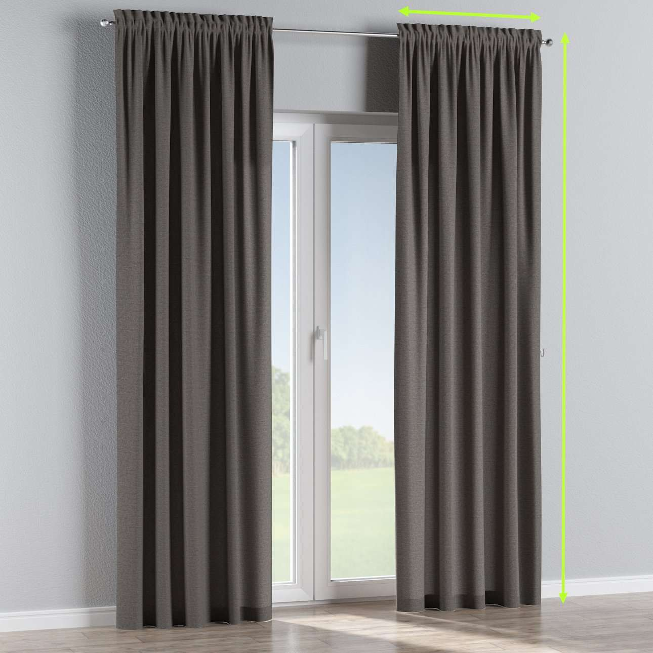Slot and frill lined curtains in collection Edinburgh , fabric: 115-77