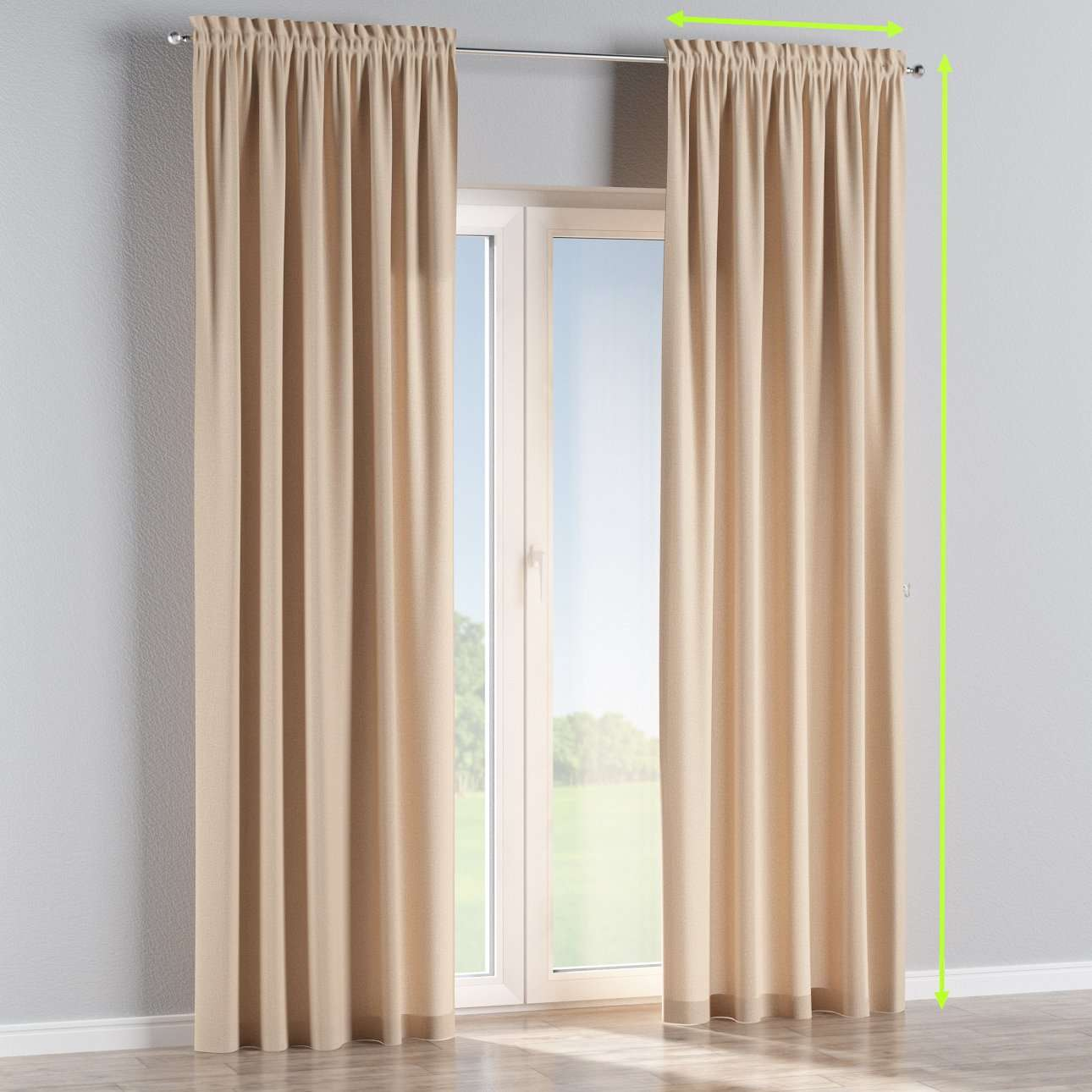 Slot and frill lined curtains in collection Edinburgh , fabric: 115-78