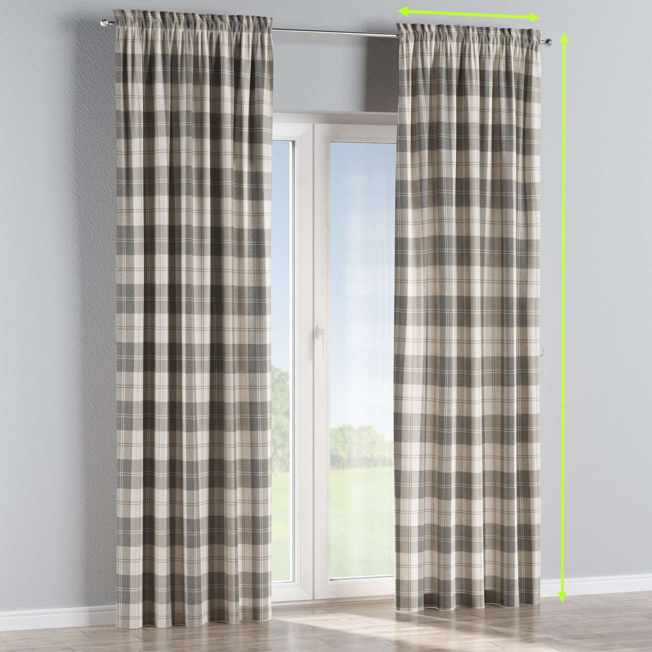 Slot and frill lined curtains in collection Edinburgh, fabric: 115-79