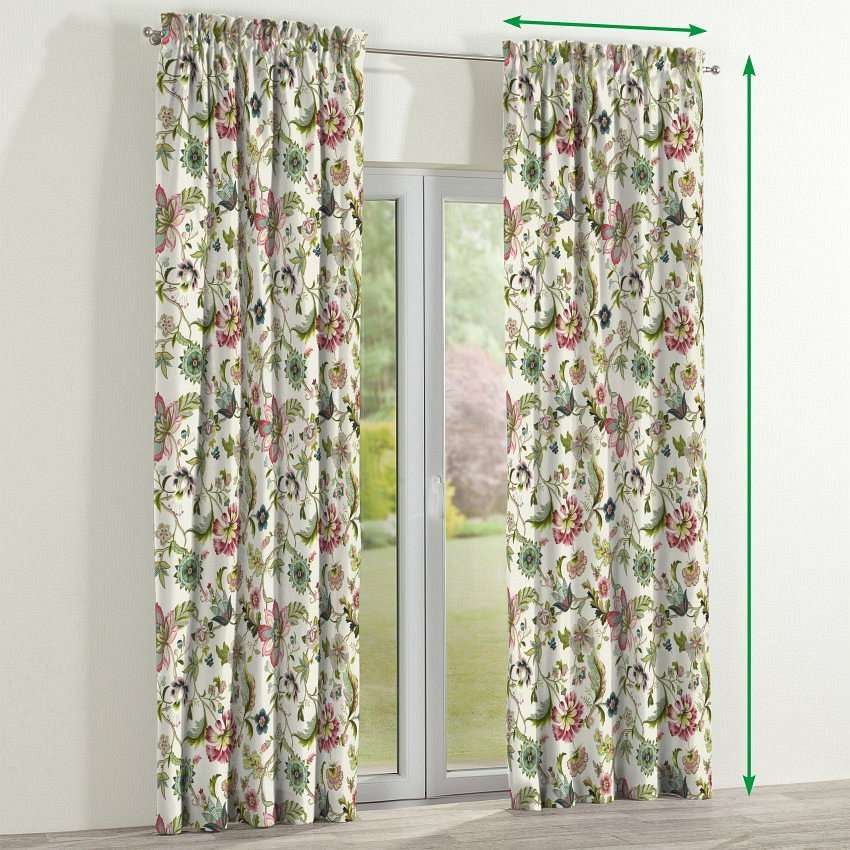 Slot and frill lined curtains in collection Londres, fabric: 122-00