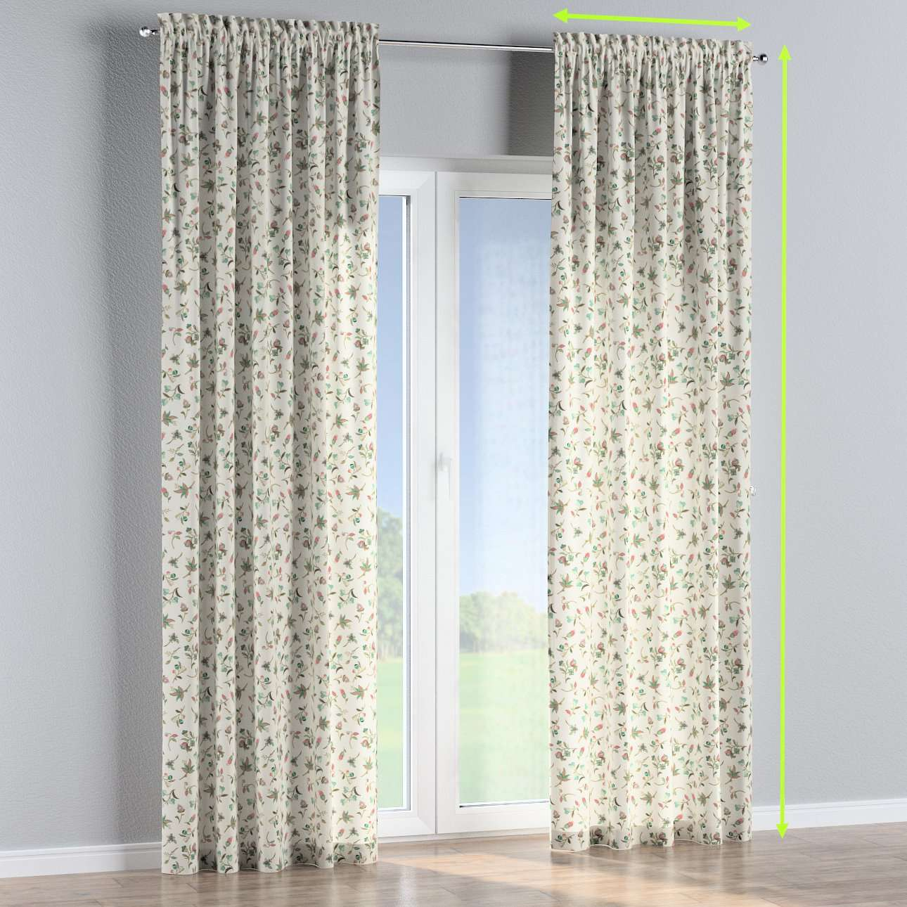 Slot and frill lined curtains in collection Londres, fabric: 122-02