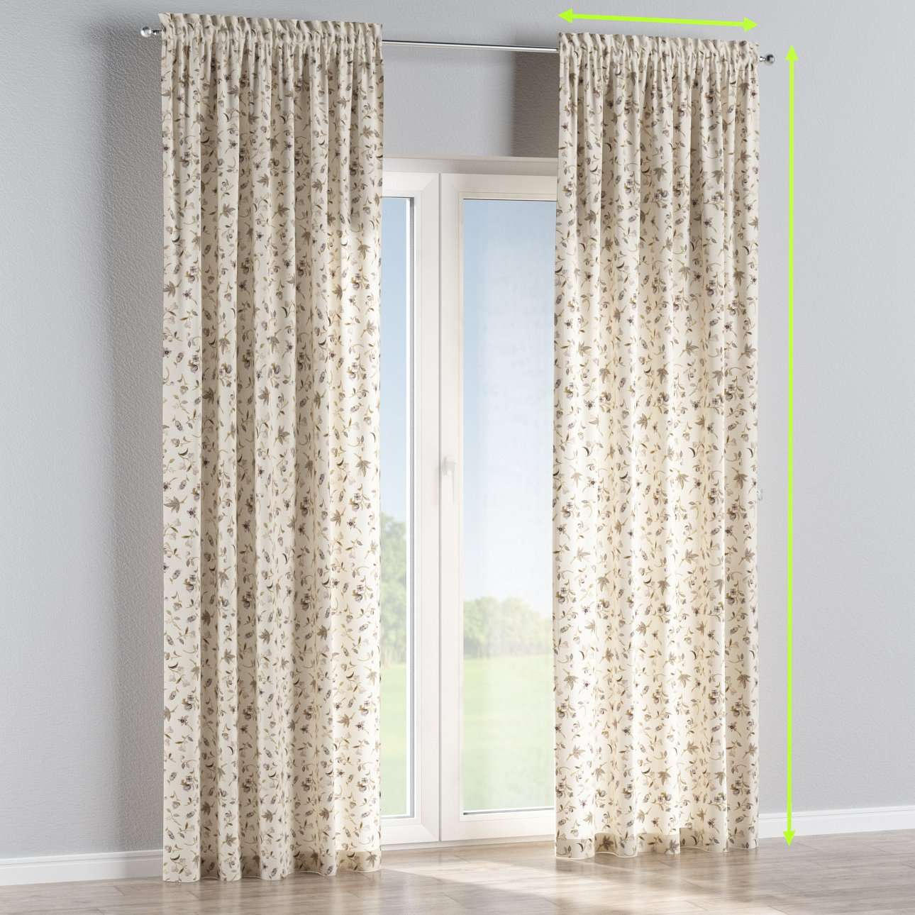 Slot and frill lined curtains in collection Londres, fabric: 122-04