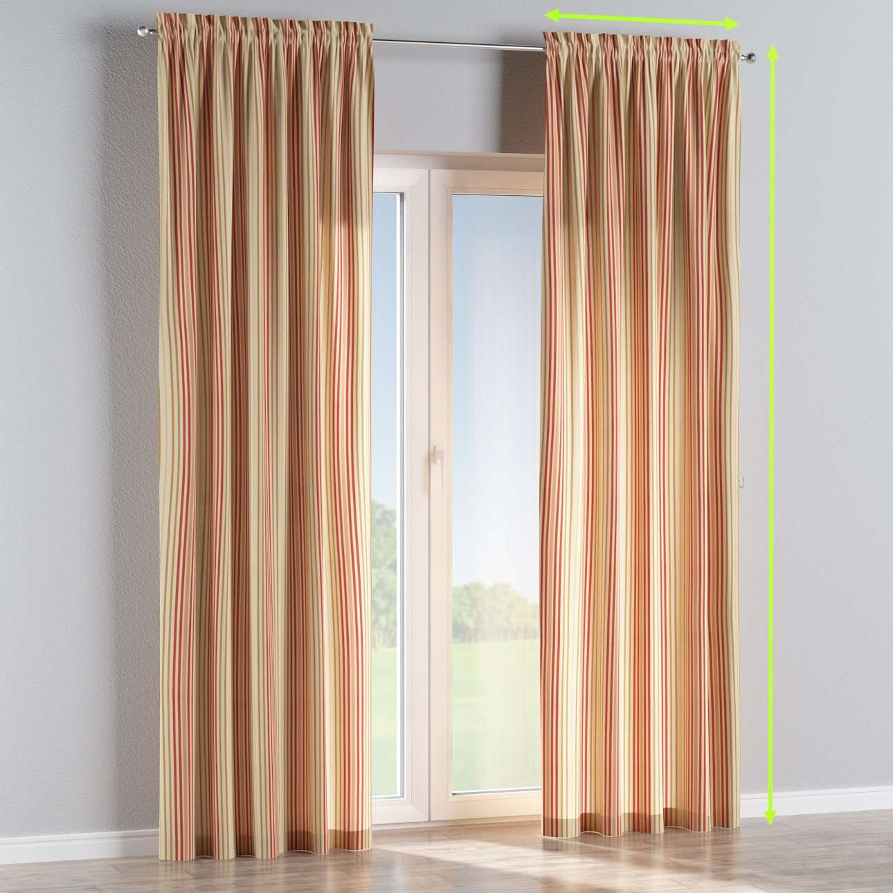 Slot and frill lined curtains in collection Londres, fabric: 122-05