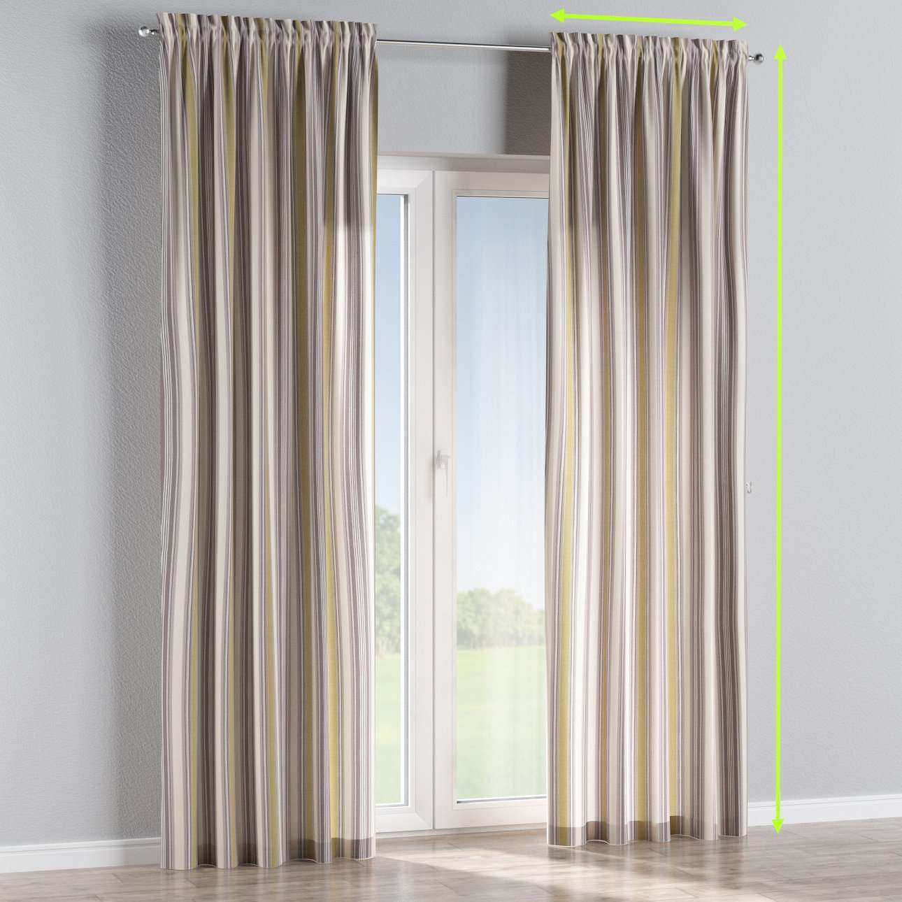 Slot and frill lined curtains in collection Londres, fabric: 122-06