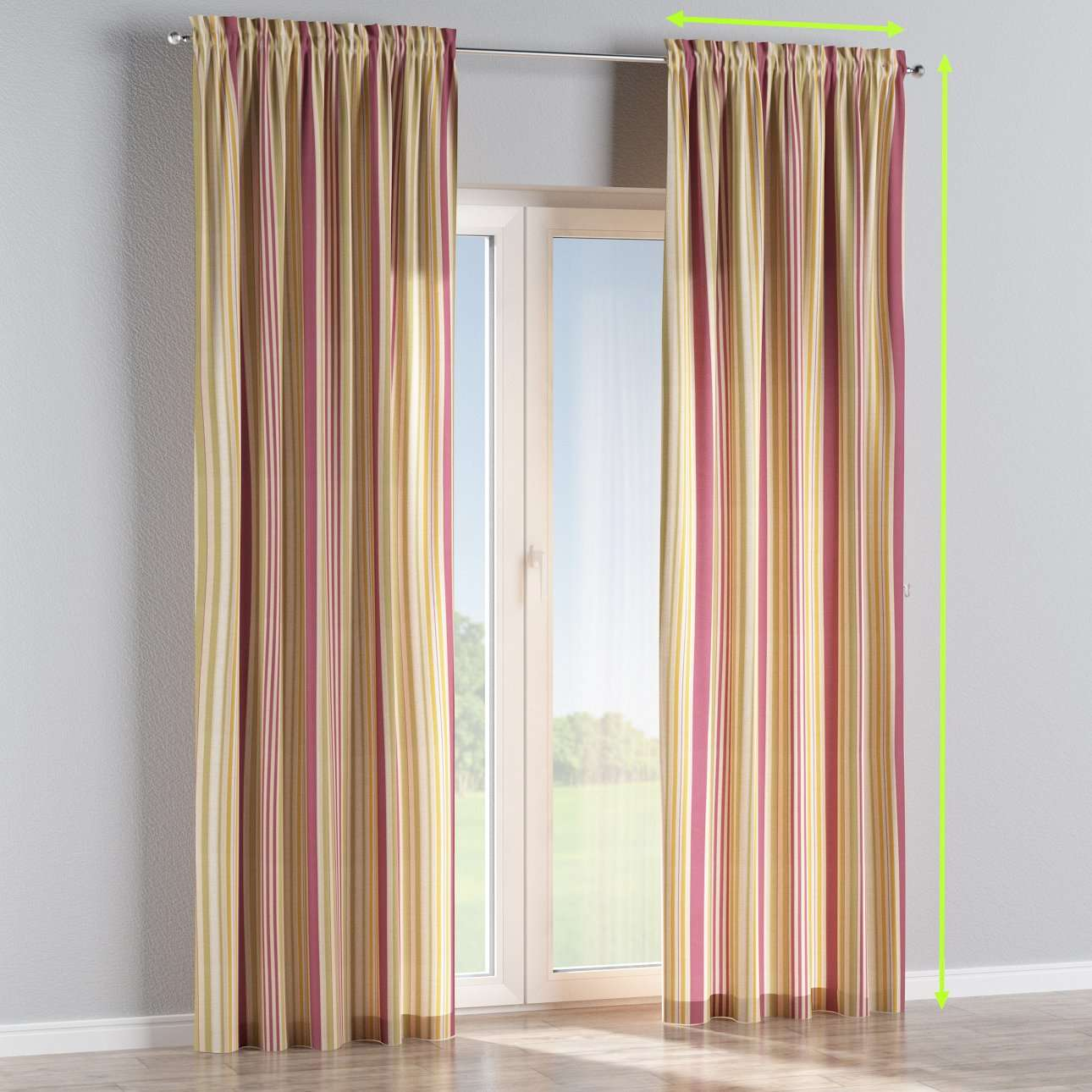 Slot and frill lined curtains in collection Londres, fabric: 122-09