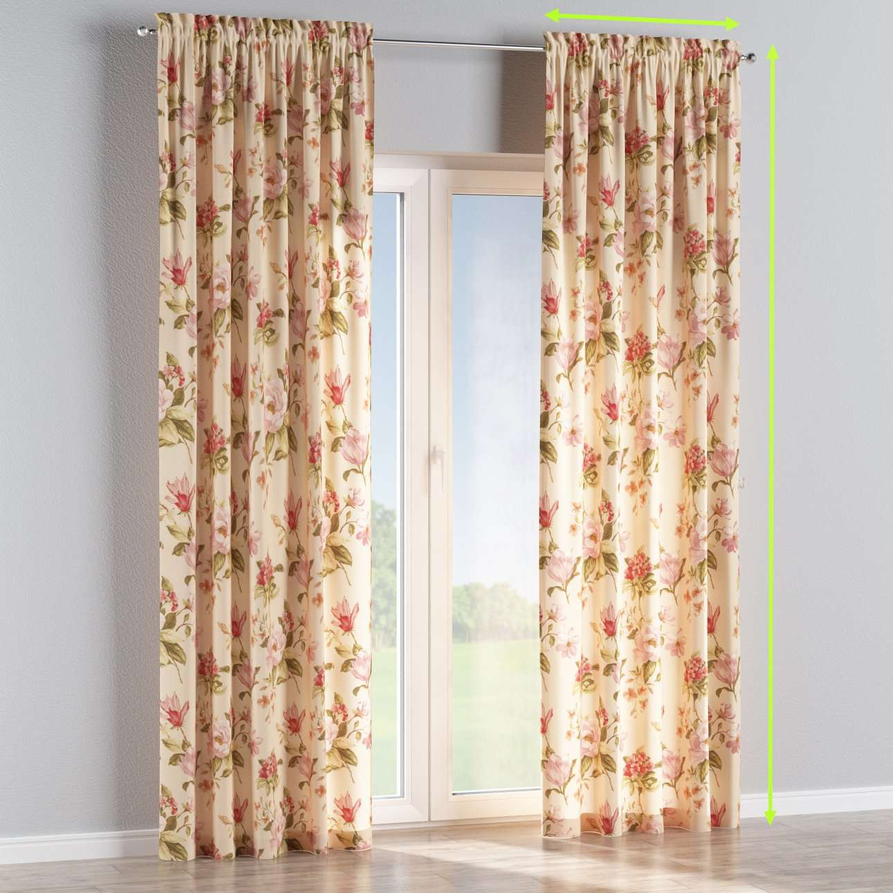 Slot and frill lined curtains in collection Londres, fabric: 123-05