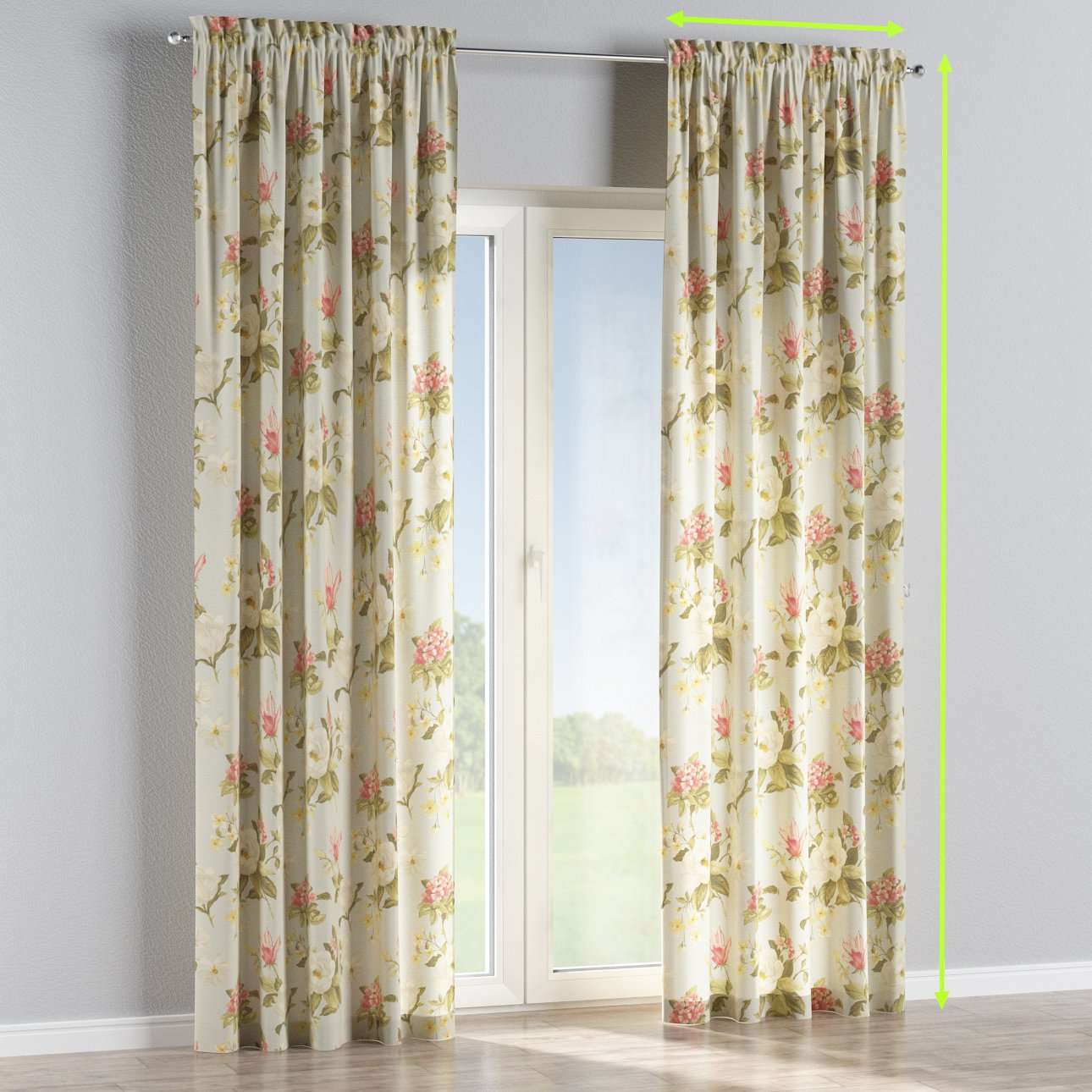 Slot and frill lined curtains in collection Londres, fabric: 123-65