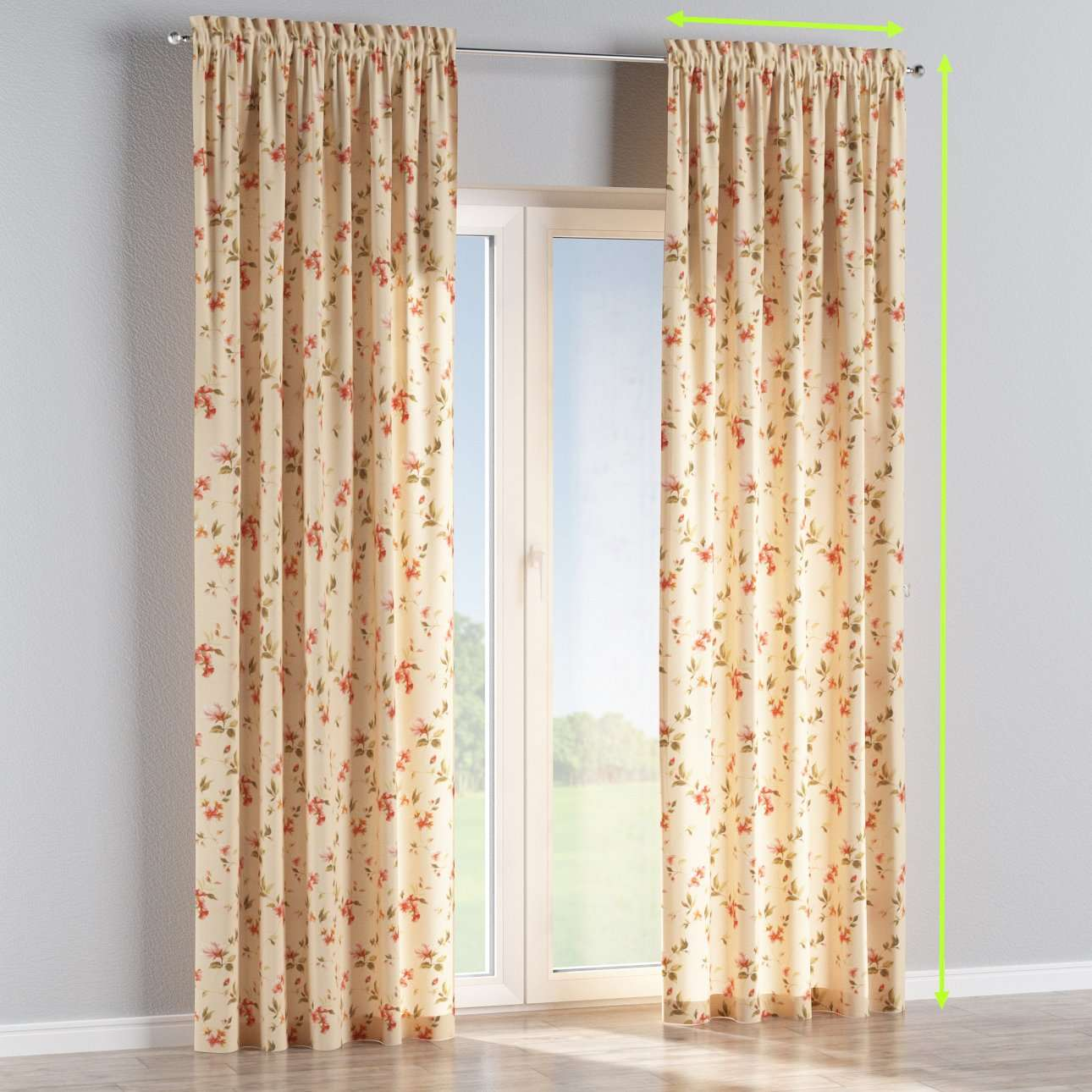 Slot and frill lined curtains in collection Londres, fabric: 124-05