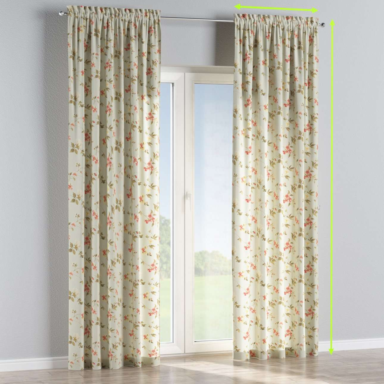 Slot and frill lined curtains in collection Londres, fabric: 124-65