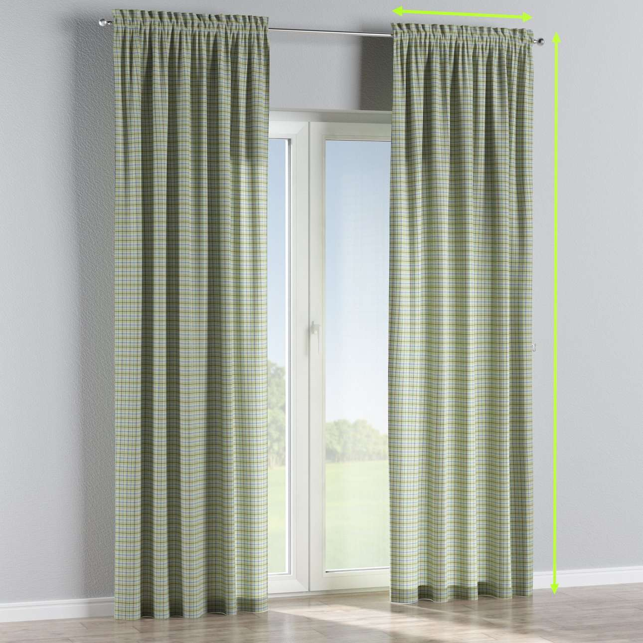 Slot and frill lined curtains in collection Bristol, fabric: 126-69