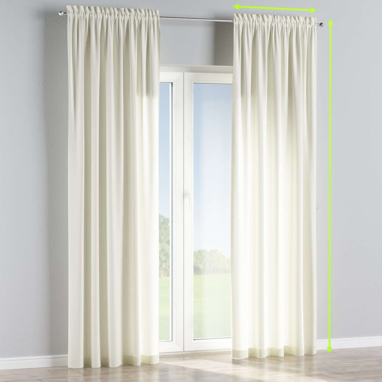 Slot and frill lined curtains in collection Jupiter, fabric: 127-00