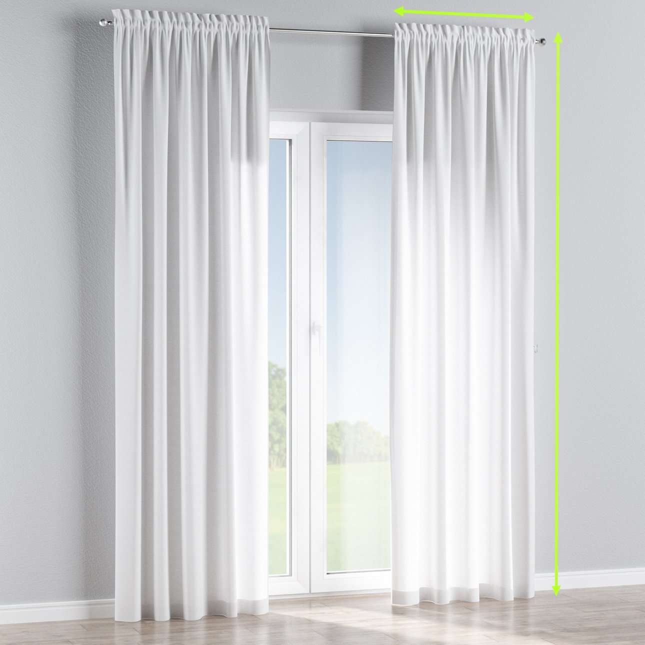 Slot and frill lined curtains in collection Jupiter, fabric: 127-01