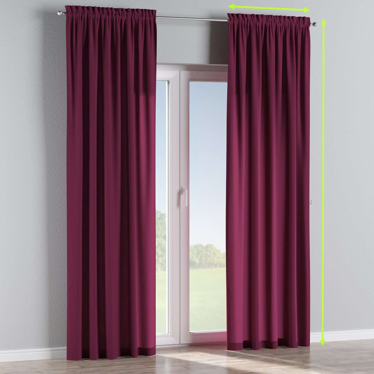 Slot and frill lined curtains in collection Jupiter, fabric: 127-20