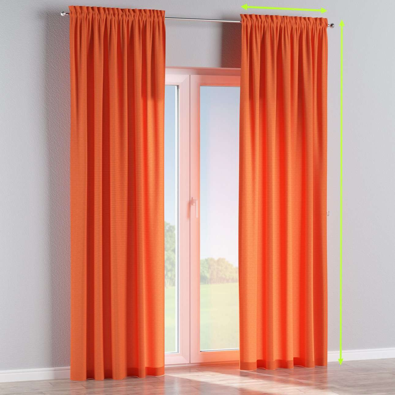 Slot and frill lined curtains in collection Jupiter, fabric: 127-35