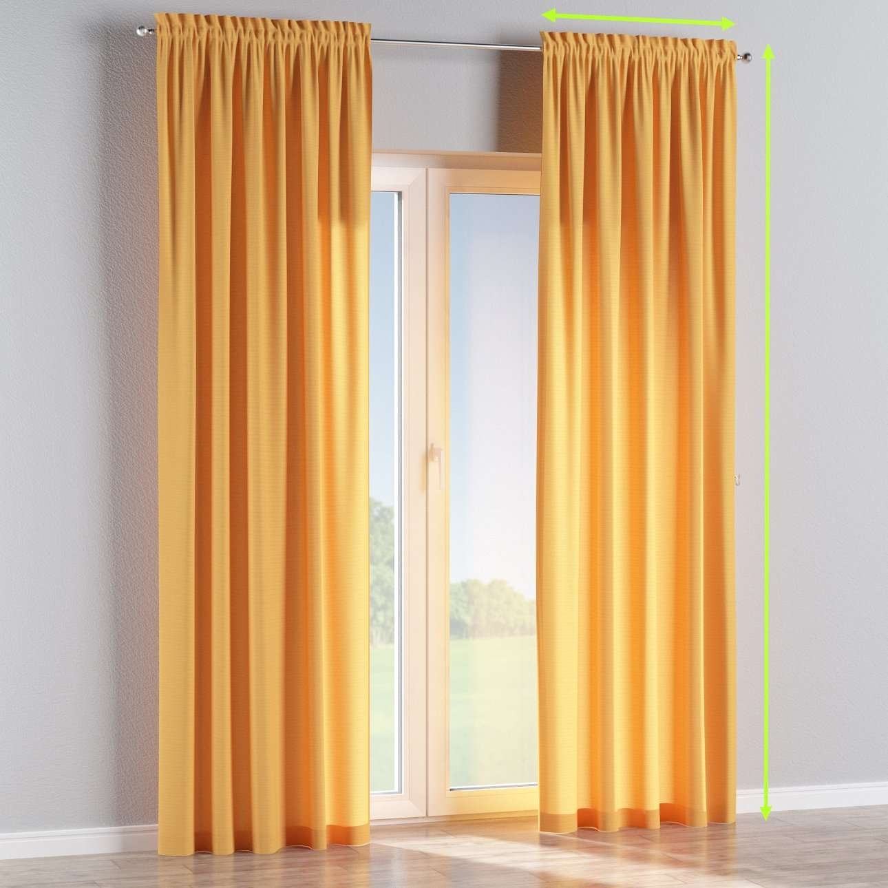 Slot and frill lined curtains in collection Jupiter, fabric: 127-46