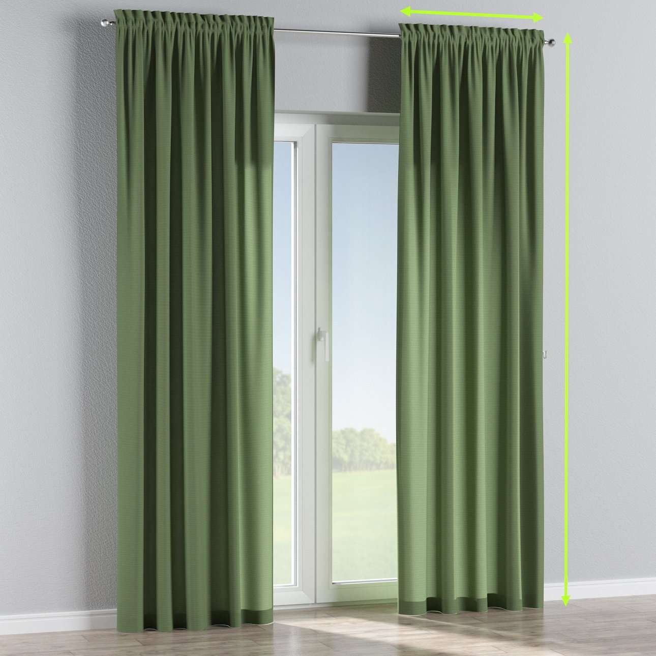 Slot and frill lined curtains in collection Jupiter, fabric: 127-52