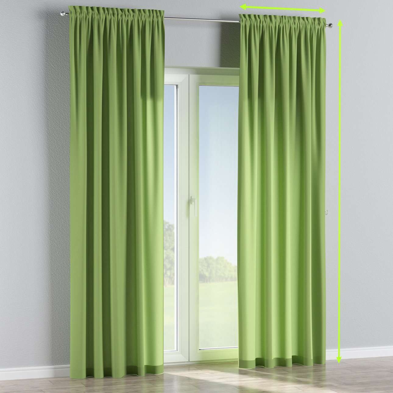 Slot and frill lined curtains in collection Jupiter, fabric: 127-57