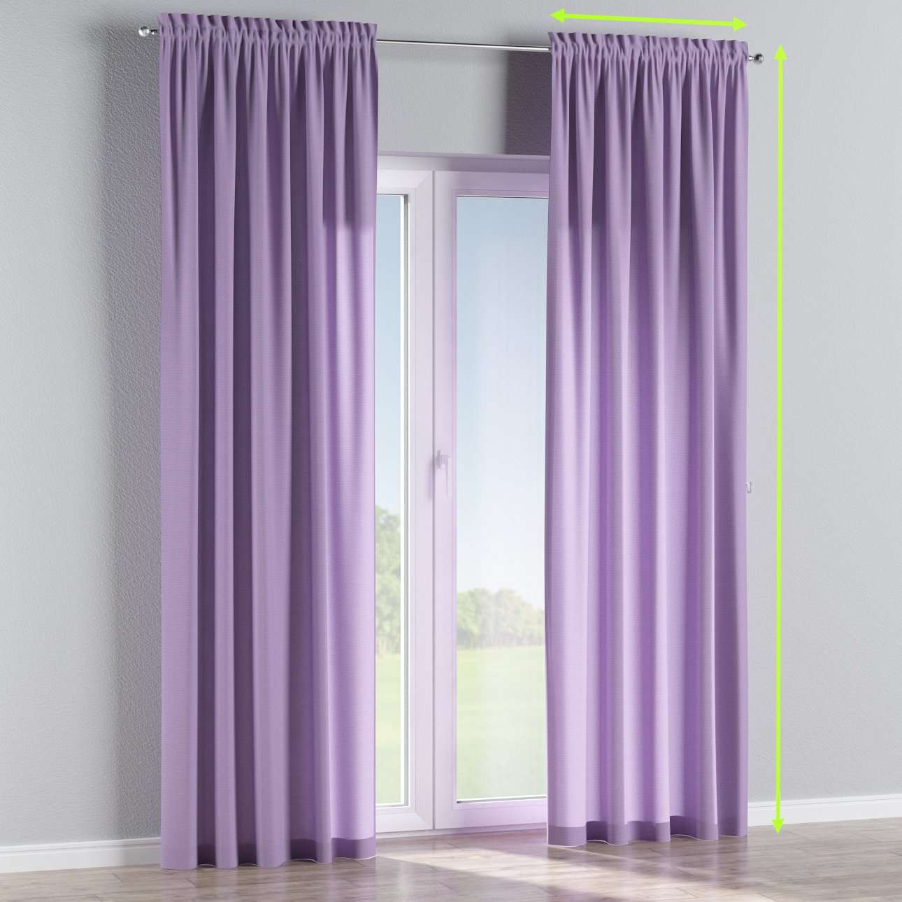 Slot and frill lined curtains in collection Jupiter, fabric: 127-74