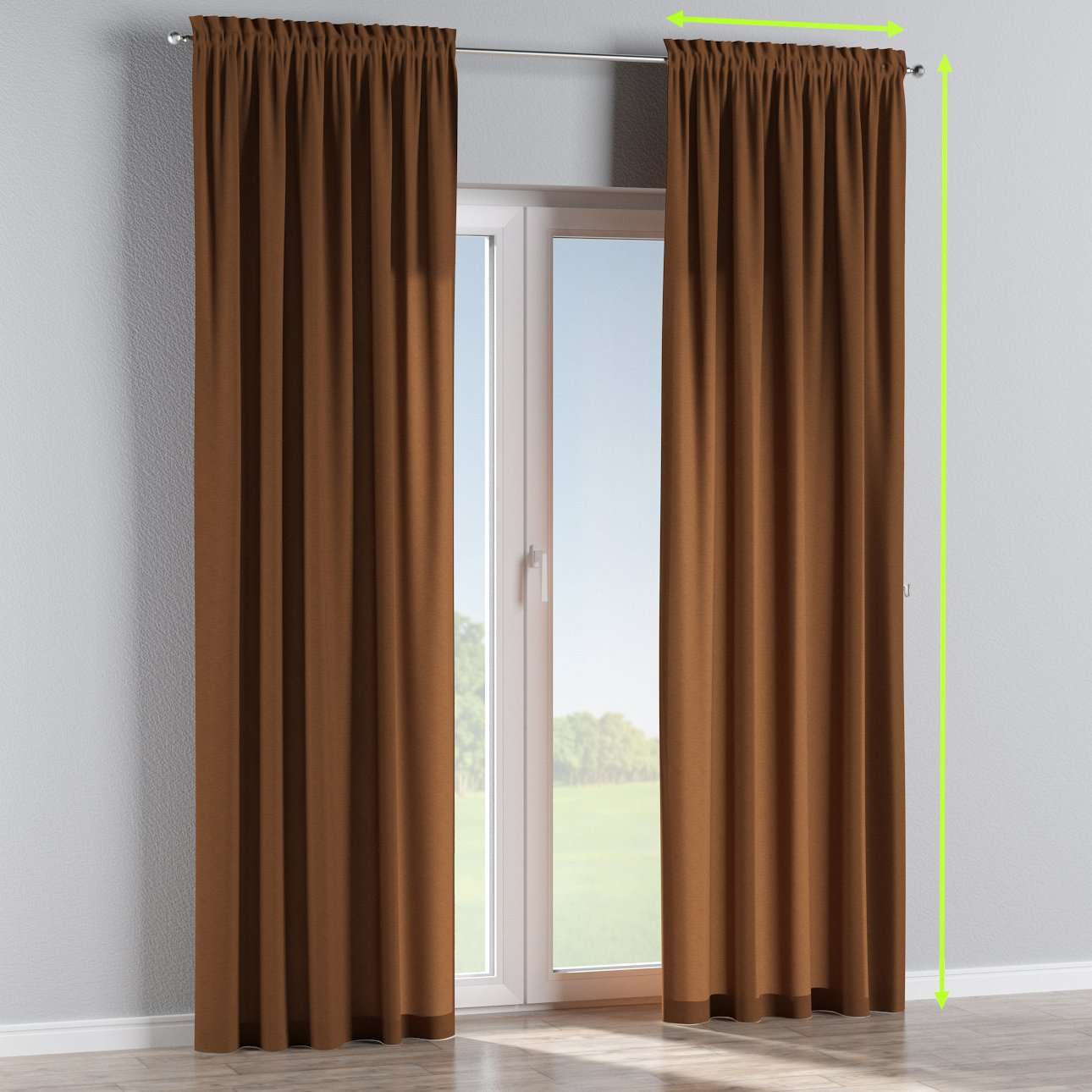 Slot and frill lined curtains in collection Jupiter, fabric: 127-88