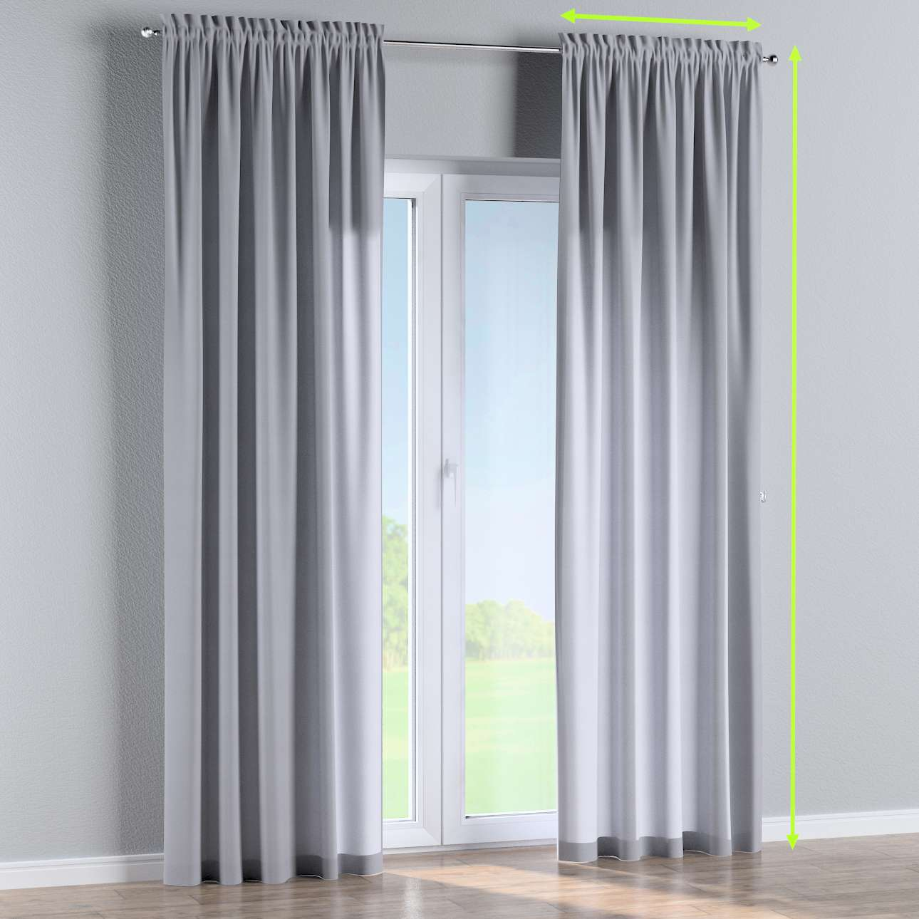 Slot and frill lined curtains in collection Jupiter, fabric: 127-92