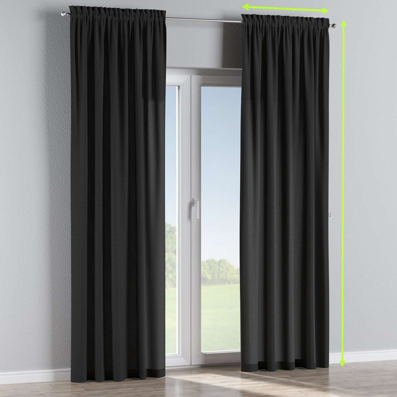 Slot and frill lined curtains in collection Jupiter, fabric: 127-99