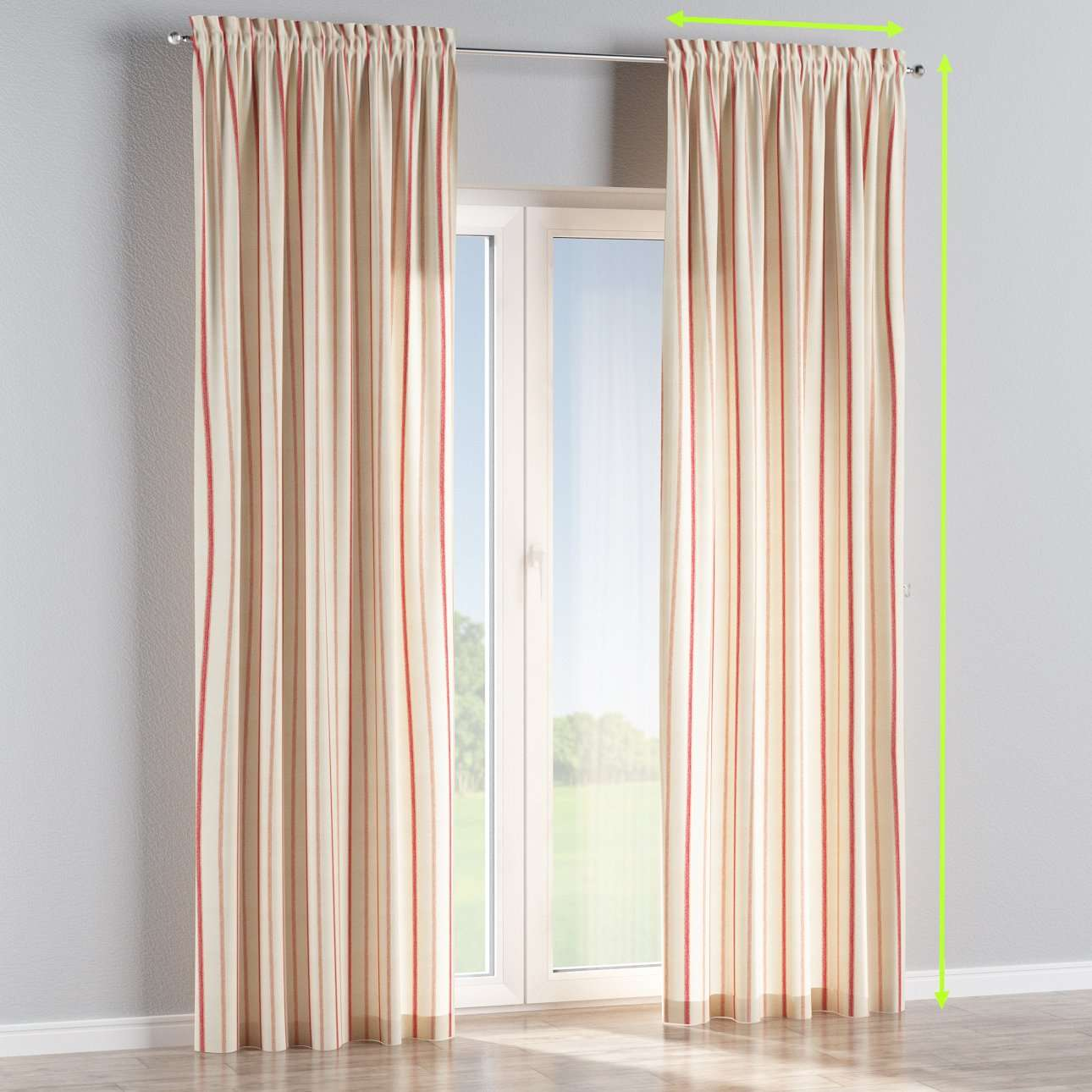 Slot and frill lined curtains in collection Avinon, fabric: 129-15