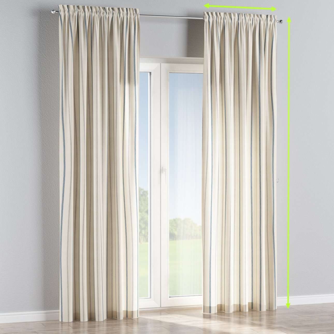Slot and frill lined curtains in collection Avinon, fabric: 129-66