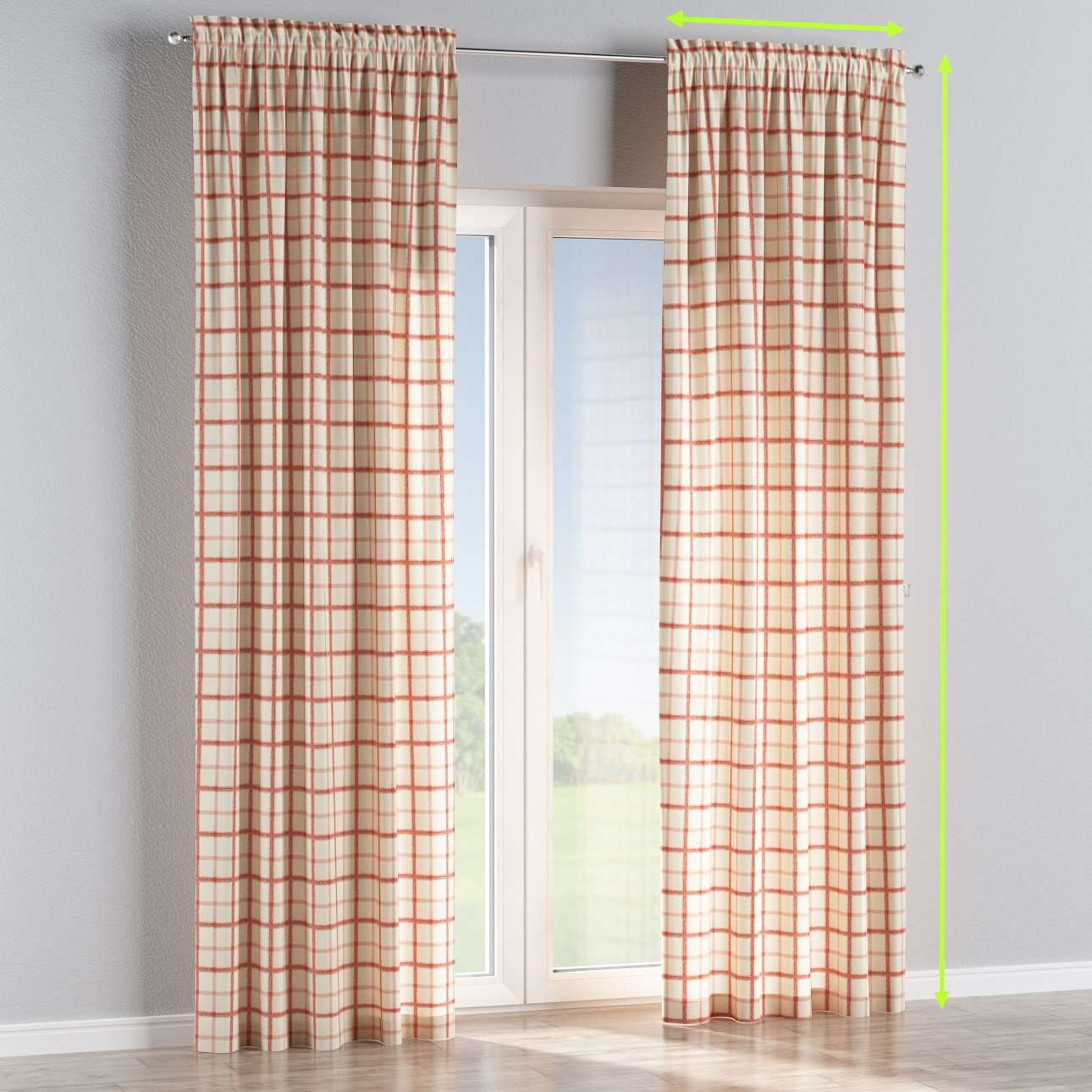 Slot and frill lined curtains in collection Avinon, fabric: 131-15