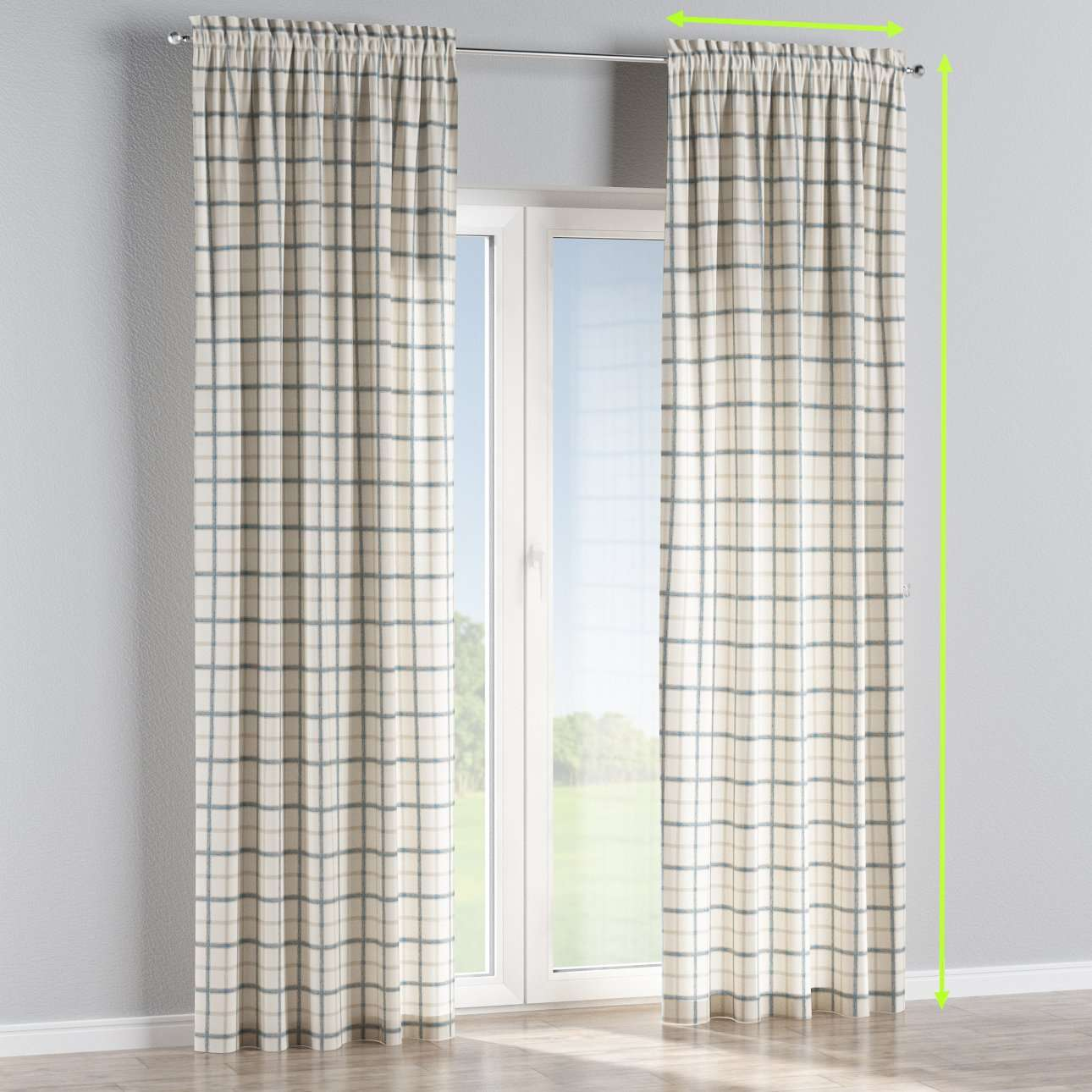 Slot and frill lined curtains in collection Avinon, fabric: 131-66