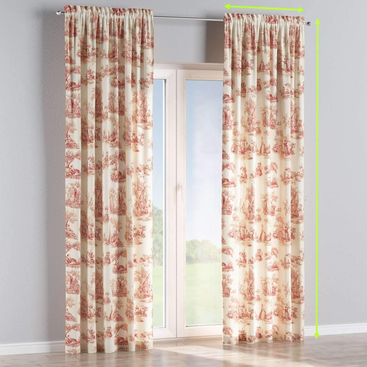 Slot and frill lined curtains in collection Avinon, fabric: 132-15