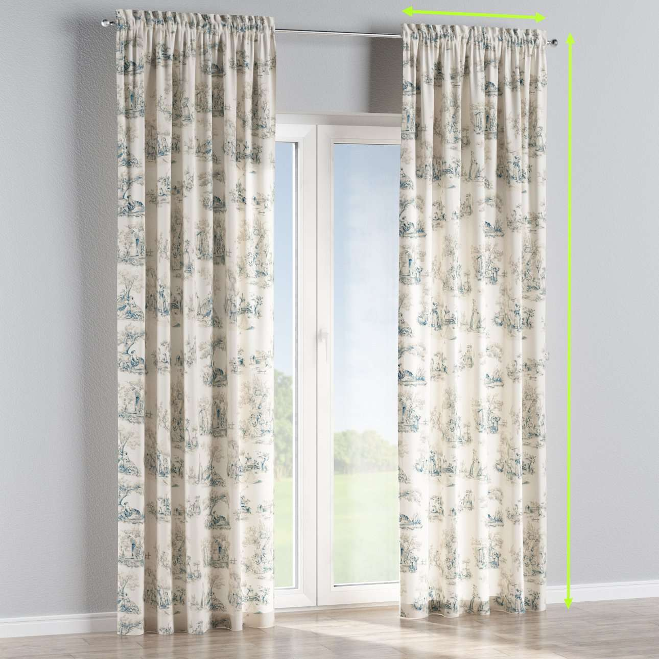 Slot and frill lined curtains in collection Avinon, fabric: 132-66
