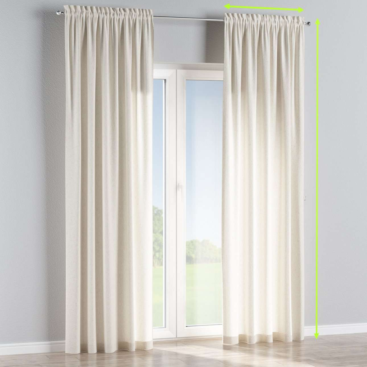 Slot and frill lined curtains in collection Loneta , fabric: 133-01