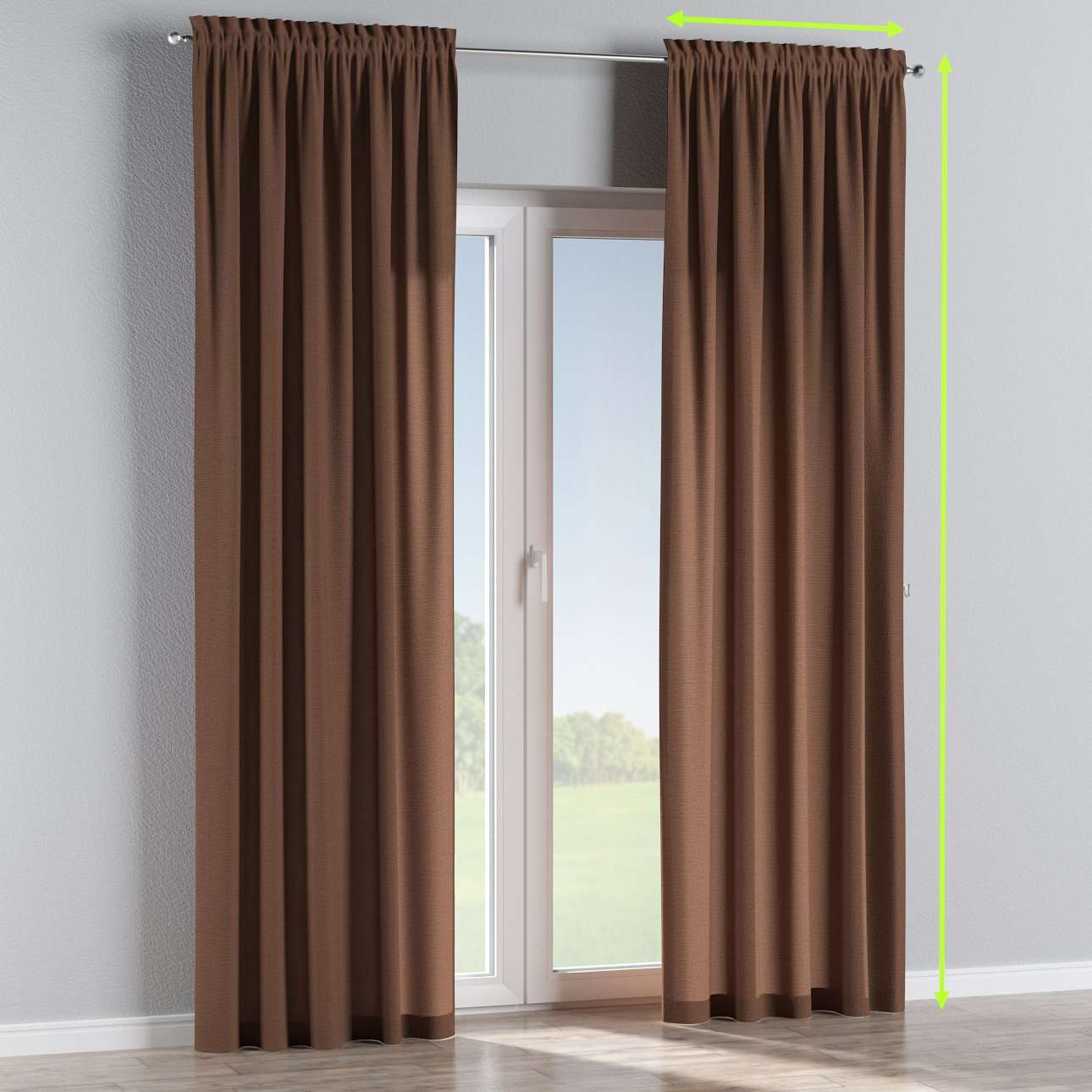 Slot and frill lined curtains in collection Loneta , fabric: 133-09