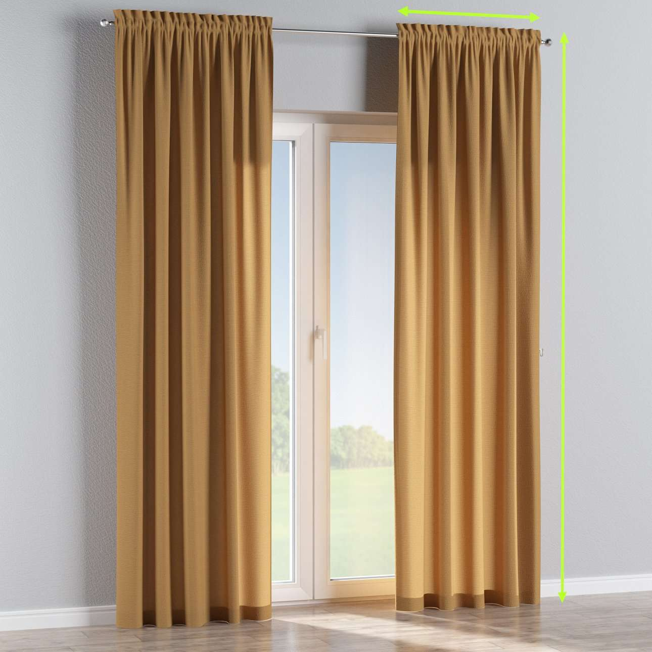 Slot and frill lined curtains in collection Loneta , fabric: 133-12