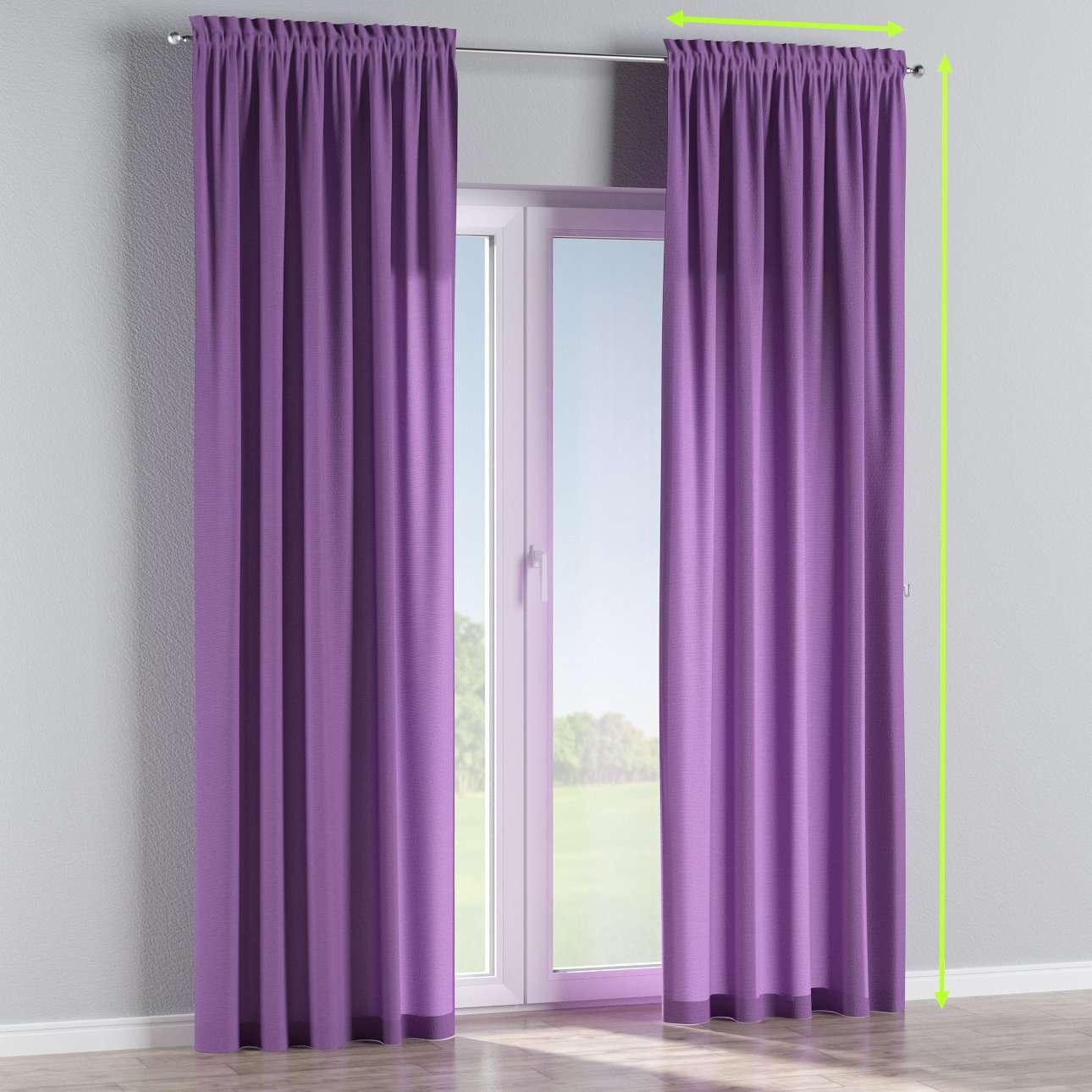 Slot and frill lined curtains in collection Loneta , fabric: 133-19