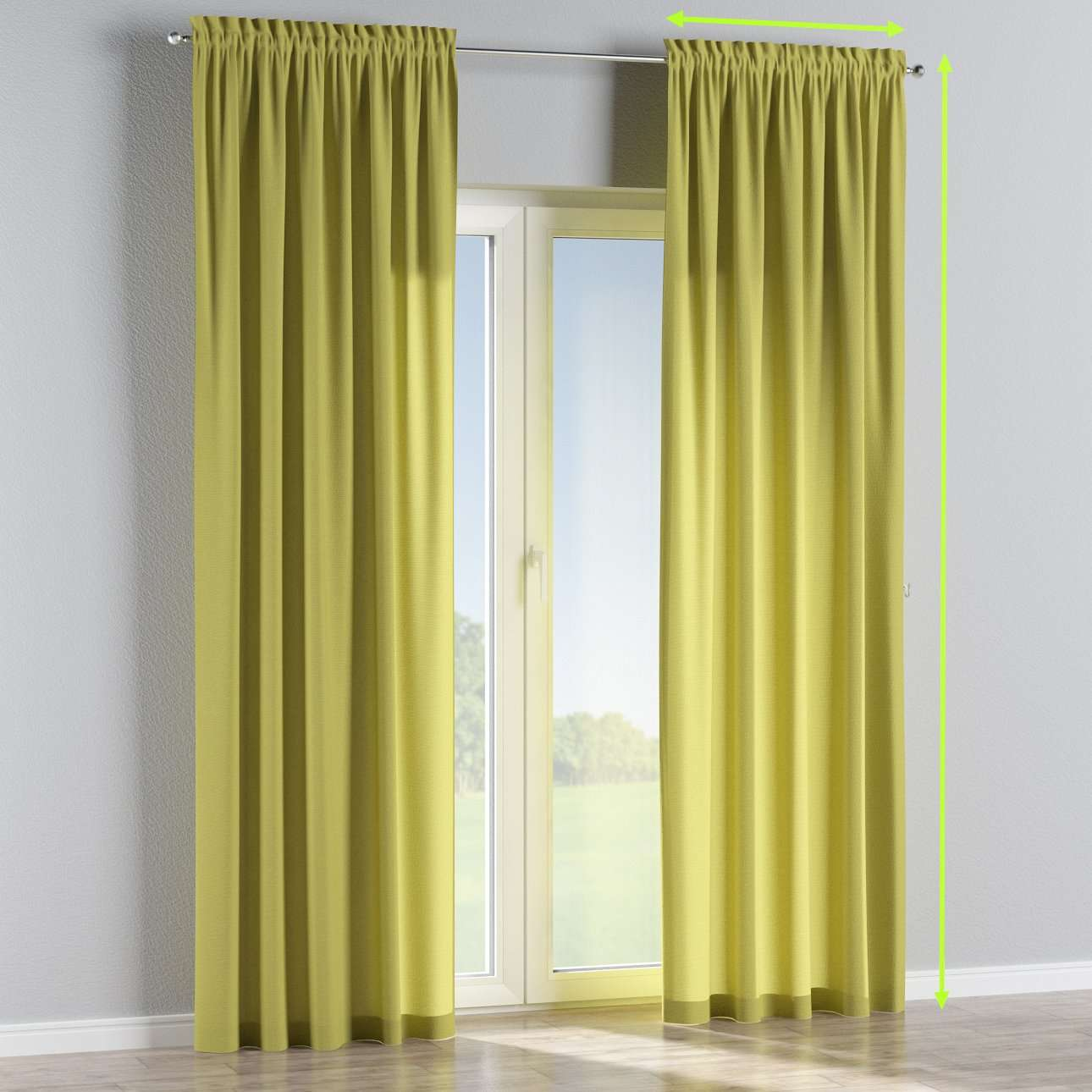 Slot and frill lined curtains in collection Loneta , fabric: 133-23