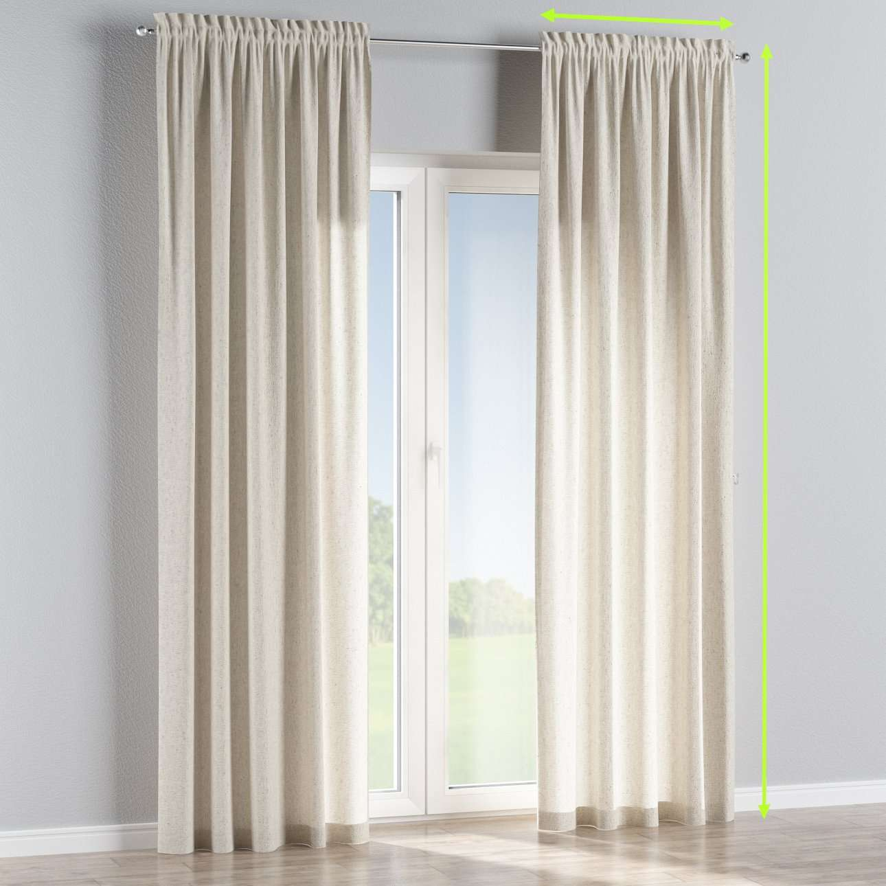 Slot and frill lined curtains in collection Loneta , fabric: 133-65